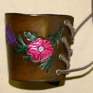 Handcrafted Leather Flower Bracelet Cuff